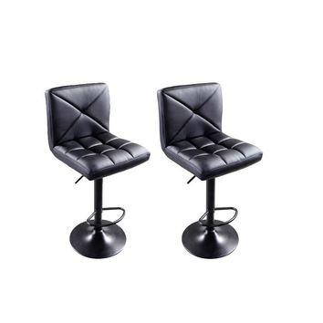 2 Pack: Modern Leather Adjustable Swivel Hydraulic Bar Stool Chairs