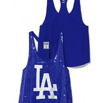 Los Angeles Dodgers Bling Racerback Tank - PINK - Victoria's Secret