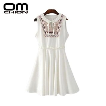 Casual V Neck Sleeveless Dress High Waist Solid Tank Mini Embroidery Dress
