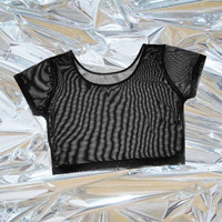 sheer mesh crop top black tumblr fashion lilac EDC club kid vintage 90s soft grunge goth