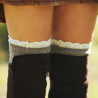 Lace On Top Boot Socks: Taupe/Cream