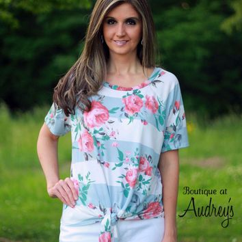 Front Knot Tie Top with Blue Stripe and Floral Print