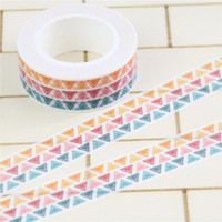 1 Pc / Pack Print Stamp Triangle Patterned Japanese Washi Paper Decorative Masking Tape Lot Scrapbooking Tools Papelaria