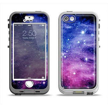 The Purple and Blue Scattered Stars Apple iPhone 5-5s LifeProof Nuud Case Skin Set