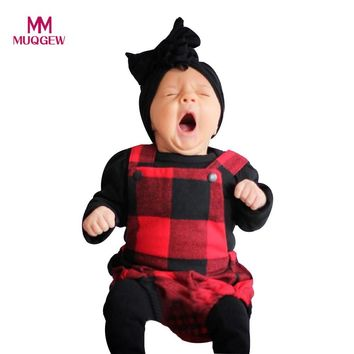 MUQGEW baby clothing Newborn Infant Baby Boy Girl Fashion Plaid Strap Romper Clothing for babies Headband Outfit Clothes Set