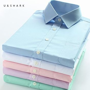 U&SHARK Mens Basic Dress Shirt Formal Business Twill Fabric Easy Care Long Sleeve White Tops Shirts for Social Work Office Wear