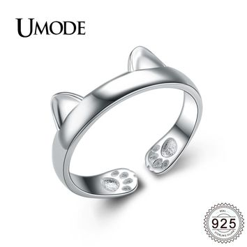 UMODE New Authentic 100% 925 Sterling Silver Cat Ear Rings for Women Silver Jewelry Open Cat Ring Bijoux Femme Anel Gift ULR0163