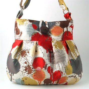 crossbody messenger bag converts to large tote , red purse, fabric handbag, art bag, diaper bag with adjustable handle, Ready to ship