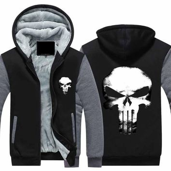 New Winter Jackets Coats The Punisher hoodie skull Hooded Thick Zipper Men cardigan Sweatshirts