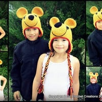 CROCHET PATTERN Winnie the Pooh inspired earflap beanie INSTANT Download / Crochet Pattern Winnie the Pooh beanie / Crochet photo Prop hat