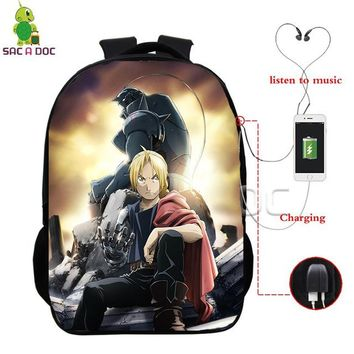 Anime Backpack School kawaii cute Fullmetal Alchemist Edward Bros Backpacks Multifunction USB Charge Headphone Jack Schoolbags for Teenagers Laptop Backpack AT_60_4