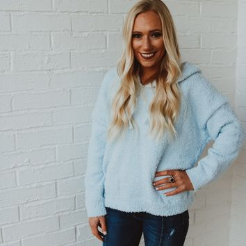 Staying Warm Hoodie - Baby Blue