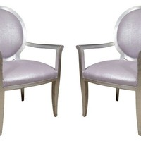 Silvered Armchairs, Pair
