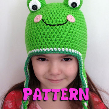 PATTERN: Crochet Frog Ear Flap Hat