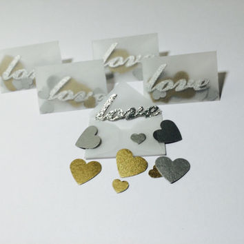 Clear mini wedding envelope favors with hearts love confetti (10) 1x1.5""
