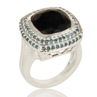 925 Sterling Silver Black Onyx And White Topaz Gemstone Cocktail Ring