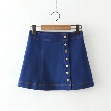 Summer Women's Fashion High Rise Stretch Scales Denim Skirt [4920259204]