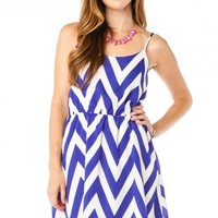 Forever Zig Zag Sundress in Ink Blue - ShopSosie.com