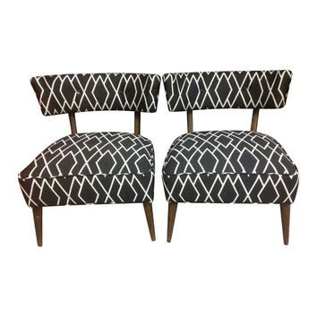Pre Owned Reupholstered Mid Century Slipper Chairs