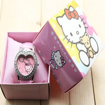Hello Kitty watches girl KT cat love child watches in box free shipping 1pcs/lot