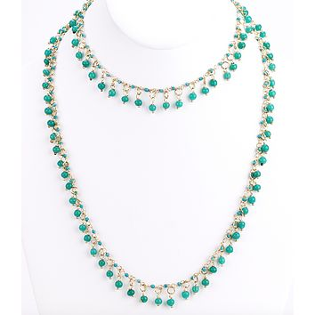 Aqua Dangle Beaded Long Necklace