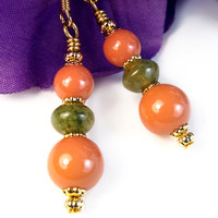 Coral Pearl Green Fancy Jasper Dangles, Handmade Earrings, Gold Tone