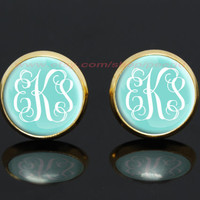 Personalized earrings,Monogram Tiffany Blue gold plated earrings,girlfriend gift Bridesmaid Gift
