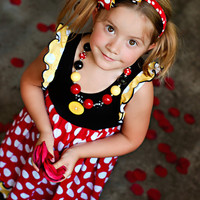 M2M  Minnie Mouse Felt Center Boutique Style Hair Bow Black Red and Yellow Ribbon Wrapped Hard Headband