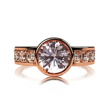 Pink Morganite ring, engagement ring, bezel, white sapphire ring, pink, morganite engagement, solitaire, rose gold, yellow gold, white gold
