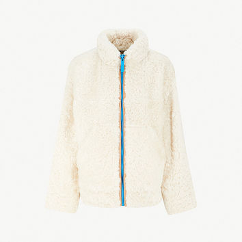 BURBERRY Contrast-zipper shearling jacket