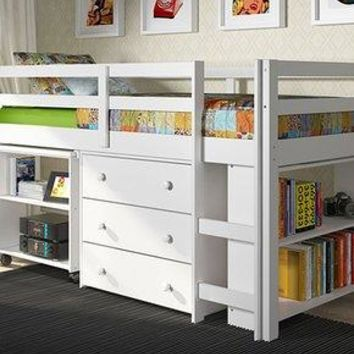 Ava Kid's Furniture Set with Twin Loft Bed, Desk, Dresser & Bookcase in One