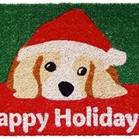 Dog Lovers' Holiday Hand Woven Coconut Fiber Doormat CHRISTMAS DECOR