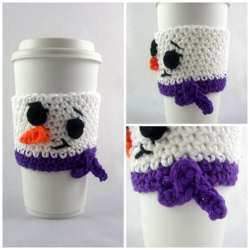 Snowman Travel mug sleeve / purple scarf  / coffee mug cozy / travel cup sleeve / cup cozy / travel mug cozy / coffee cup sleeve