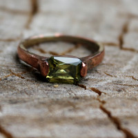 Vintage Emerald Cut Peridot Rose Gold Plated Ring