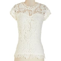 ModCloth Darling Mid-length Short Sleeves Graceful Air Top in Ivory