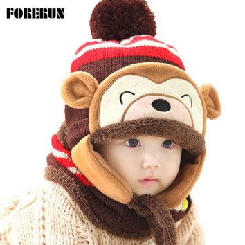 Animal Hat Scarf Set Kids Monkey Cap Velvet Bonnet Bomber