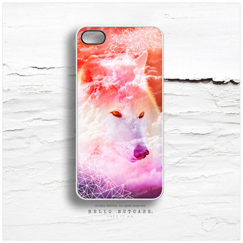iPhone 4 and iPhone 4S case Arctic Wolf Tribal Pattern, iPhone Cover Crystals, Pink Nebula Sky iPhone Case T145