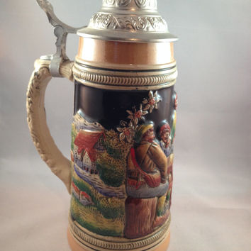 Egon Bay Beer Stein, Western Germany Vintage Pewter Lid