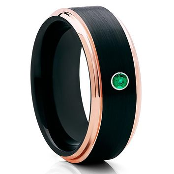 Men's Tungsten Ring - Black Tungsten Ring - Emerald Tungsten Ring - Brush