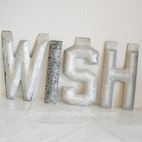 Vintage Marquee Letters WISH Metal Sign Antique Marquee