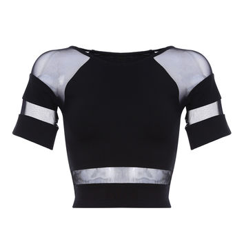 Black Cut-Outs Mesh Cropped Top