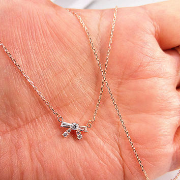 gold necklace Mini diamond knot gold necklace.cute bow necklace.girls necklace,Christmas gift.