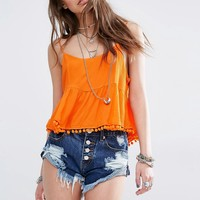 Kiss The Sky Festival Crop Top With Pom Pom Hem