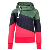 Women  Autumn Winter Sportwear  Patchwork Sweatshirt Hoodies