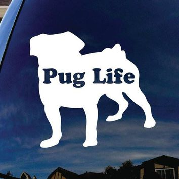 Pug Life Puppy Dog Car Window Vinyl Decal Sticker