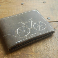 little bike repurposed leather wallet--made to order