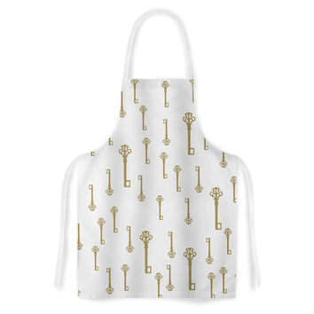 "Suzanne Carter ""Vintage Gold Keys II"" White Yellow Artistic Apron"