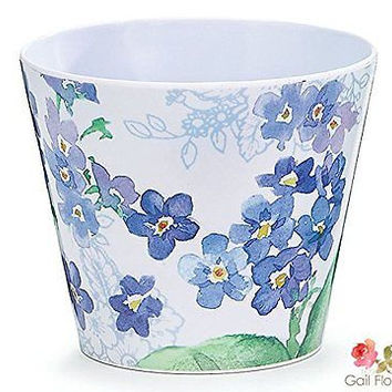 """Forget-Me-Nots Melamine Pot Cover 4.5"""" great for Gift Baskets"""