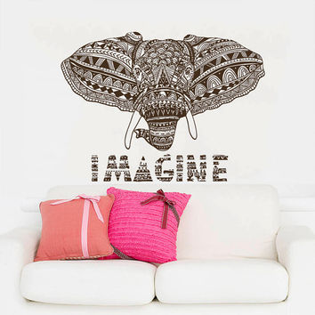 Wall Decal Vinyl Sticker Decals Art Home Decor Design Mural Indian Elephant Ganesh Om Imagine Mandala Tribal Karma Yoga Bedroom Dorm AN225