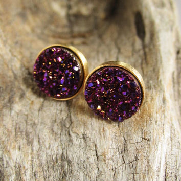 Plum Druzy Earrings Drusy Druzy Studs Druzy Quartz Gold Vermeil Bezel Set